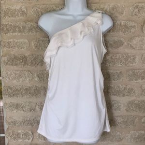 WHBM white stretch ruffle cold shoulder ring top M